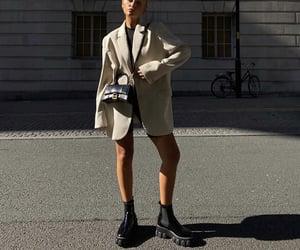 ankle boots, black top, and balenciaga bag image