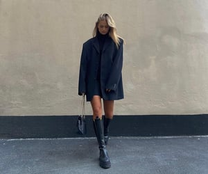 knee high boots, black platform boots, and fashion style mode image