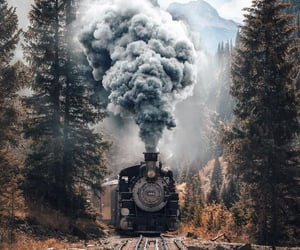 train, mountains, and nature image