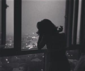 black and white, night, and sad image