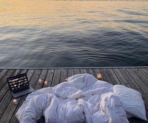 blanket and lake image
