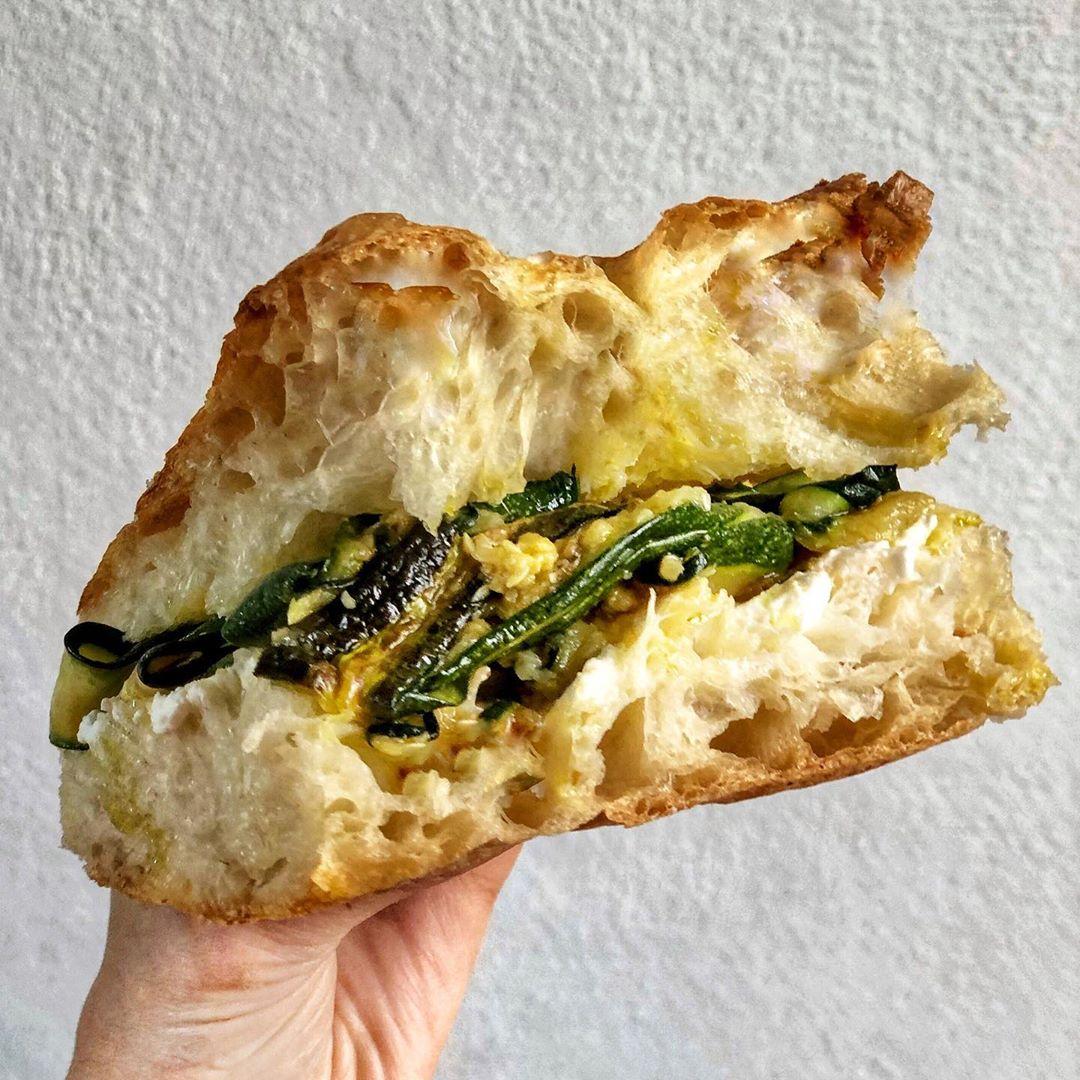 sandwich, ricotta cheese, and focaccia bread image