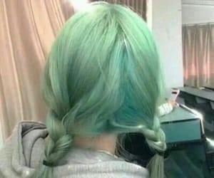 beauty, green hair, and hair image