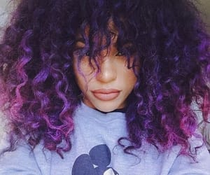 colorful hair, purple hair, and colored hair image