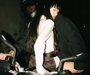 model, motorcycle, and school girl image
