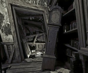 abandoned, bookcase, and leaning image