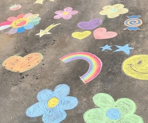 aesthetic, rainbow, and chalk image