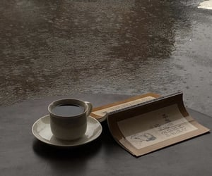 coffee, book, and rain image