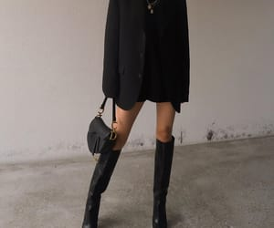 fashion, knee high boots, and black blazer image