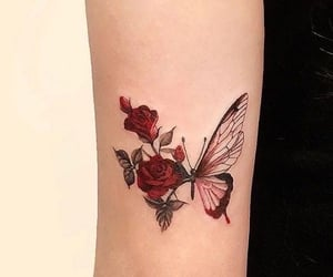 tattoo, butterfly, and red image