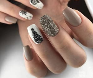 nails, beige, and christmas image