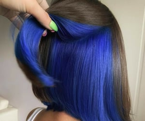 blue hair, color hair, and hairstyle image