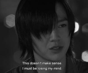 black and white, crazy, and Korean Drama image