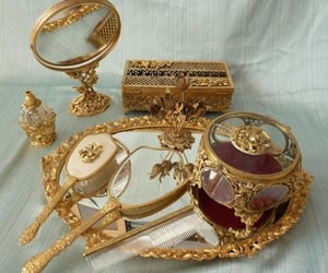 gold, mirror, and vintage image