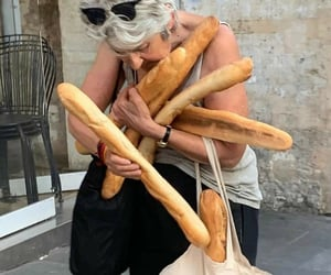 baguette, bread, and funny image