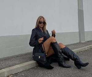 knee high boots, everyday look, and short blonde hair image