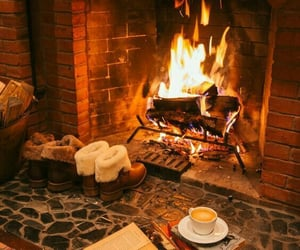 autumn, fireplace, and cozy image