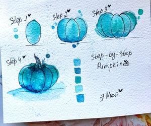 Halloween, pumpkin, and watercolor image