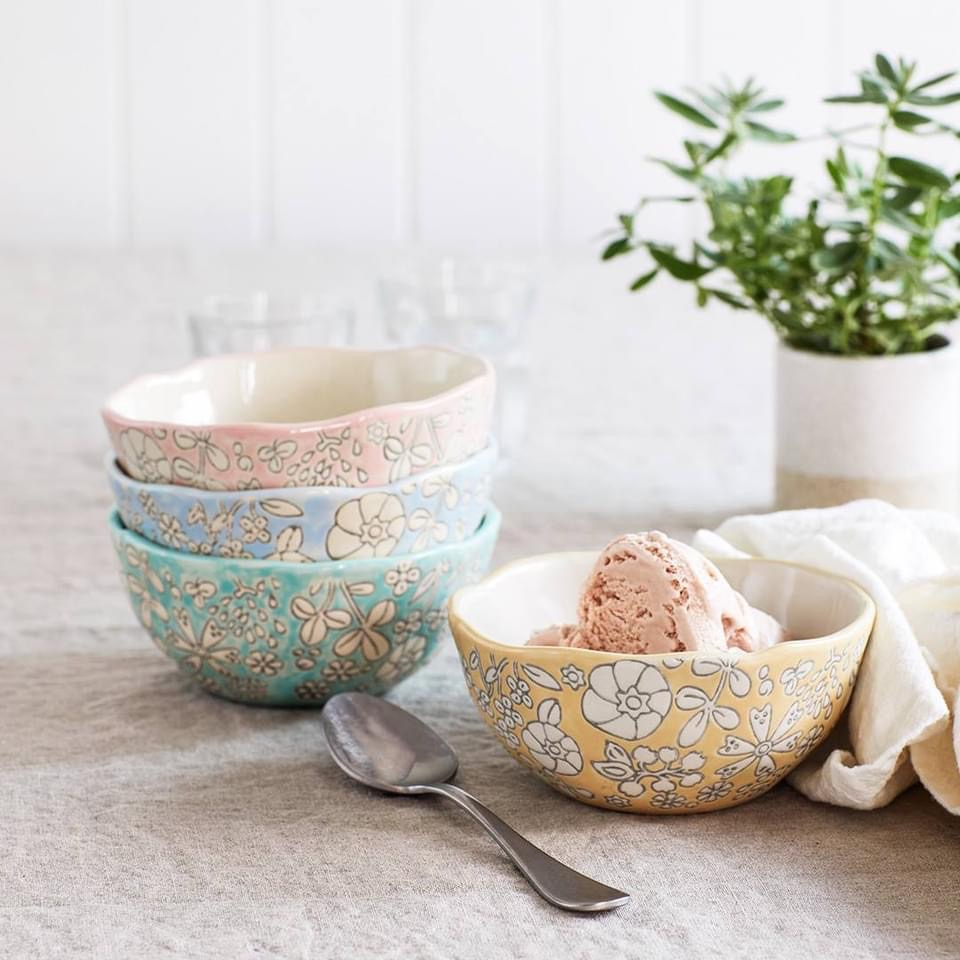 bowls, floral, and kitchen image
