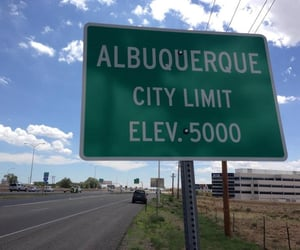 albuquerque, road sign, and Road Trip image