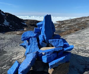 blue, installation, and boulders image