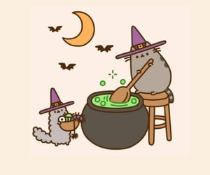 witch, cat, and Halloween image