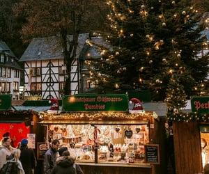 christmas tree, cities, and Halloween image