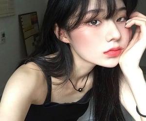 asian girl, beautiful, and black image