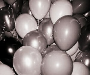 balloons, white, and black image