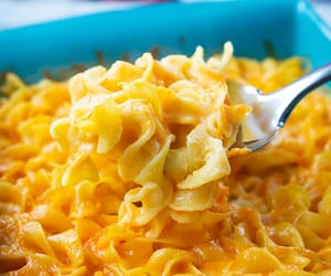 cheesy, egg, and noodles image