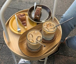 cake, coffee, and cafe image