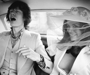 mick jagger, bianca jagger, and black and white image
