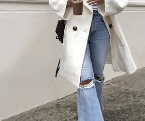 white coat, white top, and ripped denim jeans image