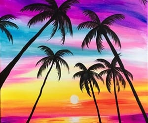 bright colors, palm tree, and wallpaper image