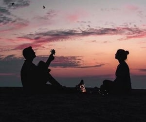 couple, sunset, and wallpaper image