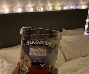 bed, ben & jerrys, and couple image