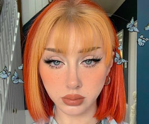 hair, hair style, and orange hair image