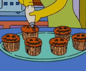 cupcakes, pumpkin cupcakes, and the simpsons image