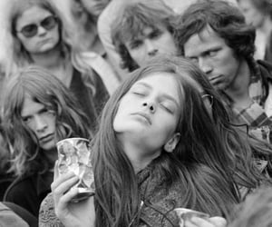 hippie, black and white, and music image