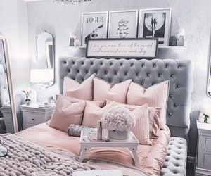 bedroom, light pink, and grey decor image