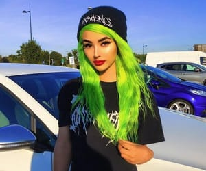 colorful hair, green hair, and hairstyle image
