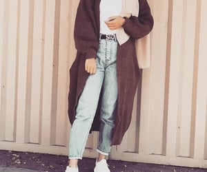 beige, hijab, and jeans image