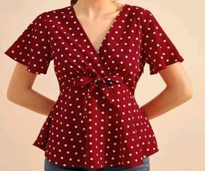 blouse, wrap around, and polka dot image