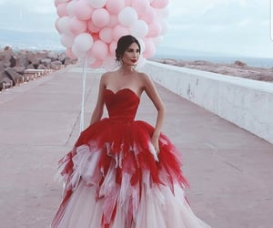 baloon, wedding, and dress image