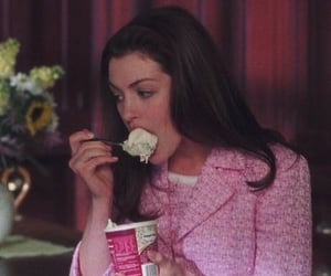 ice cream, Anne Hathaway, and pink image