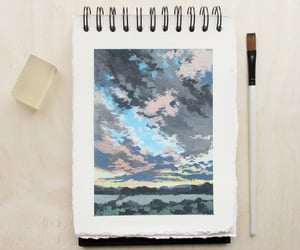 painting, handmade sketchbook, and gouache landscape image
