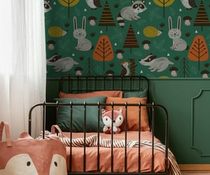 animals, forest, and wall mural image