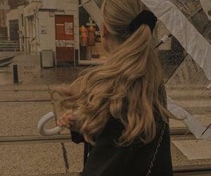 hair, blonde, and umbrella image