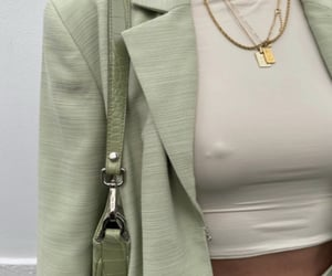 gold necklaces, everyday look, and green blazer image