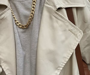 grey sweater, everyday look, and gold chain necklace image